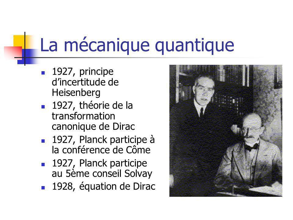 La mécanique quantique 1927, principe dincertitude de Heisenberg 1927, théorie de la transformation canonique de Dirac 1927, Planck participe à la conférence de Côme 1927, Planck participe au 5ème conseil Solvay 1928, équation de Dirac