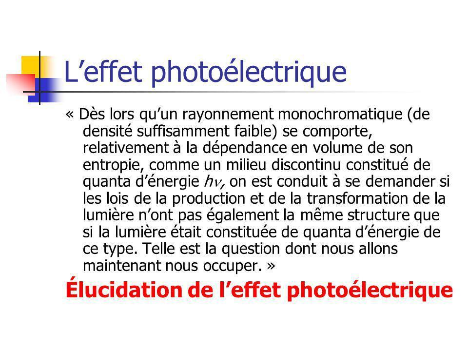 Leffet photoélectrique « Dès lors quun rayonnement monochromatique (de densité suffisamment faible) se comporte, relativement à la dépendance en volume de son entropie, comme un milieu discontinu constitué de quanta dénergie h, on est conduit à se demander si les lois de la production et de la transformation de la lumière nont pas également la même structure que si la lumière était constituée de quanta dénergie de ce type.