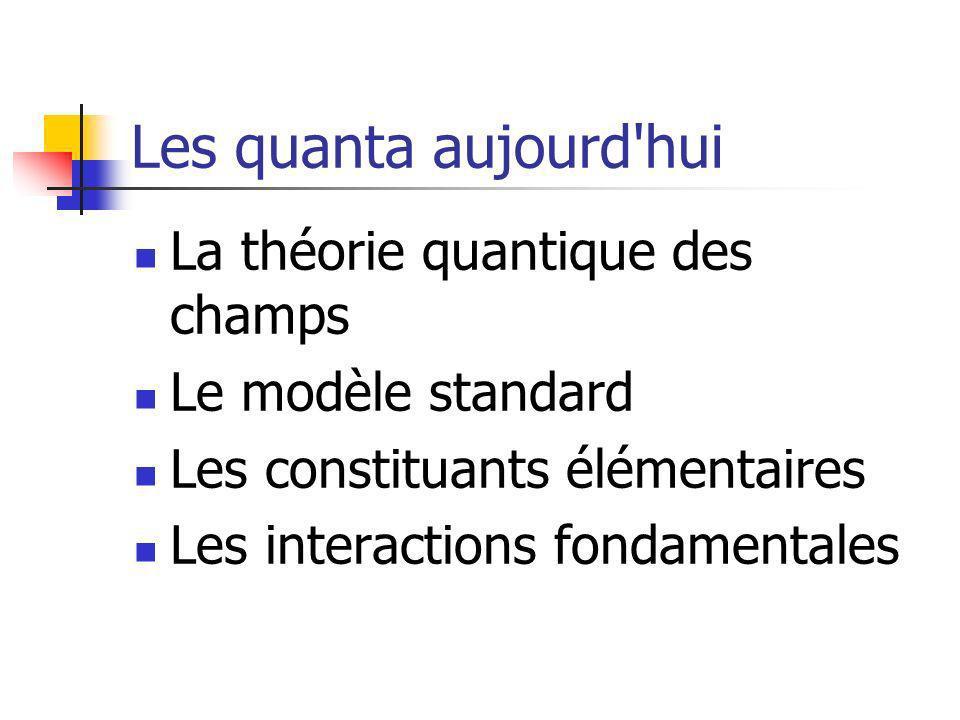 Les quanta aujourd'hui La théorie quantique des champs Le modèle standard Les constituants élémentaires Les interactions fondamentales