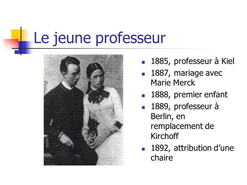 Le jeune professeur 1885, professeur à Kiel 1887, mariage avec Marie Merck 1888, premier enfant 1889, professeur à Berlin, en remplacement de Kirchoff 1892, attribution dune chaire