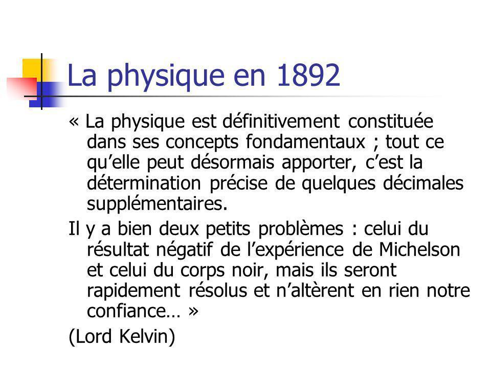 La physique en 1892 « La physique est définitivement constituée dans ses concepts fondamentaux ; tout ce quelle peut désormais apporter, cest la détermination précise de quelques décimales supplémentaires.
