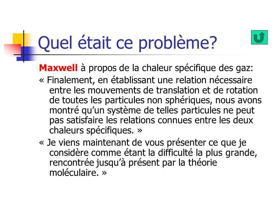 Quel était ce problème? Maxwell à propos de la chaleur spécifique des gaz: « Finalement, en établissant une relation nécessaire entre les mouvements d