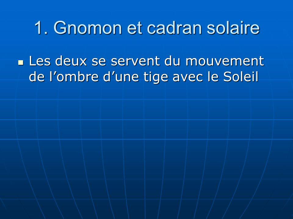 1. Gnomon et cadran solaire Les deux se servent du mouvement de lombre dune tige avec le Soleil Les deux se servent du mouvement de lombre dune tige a