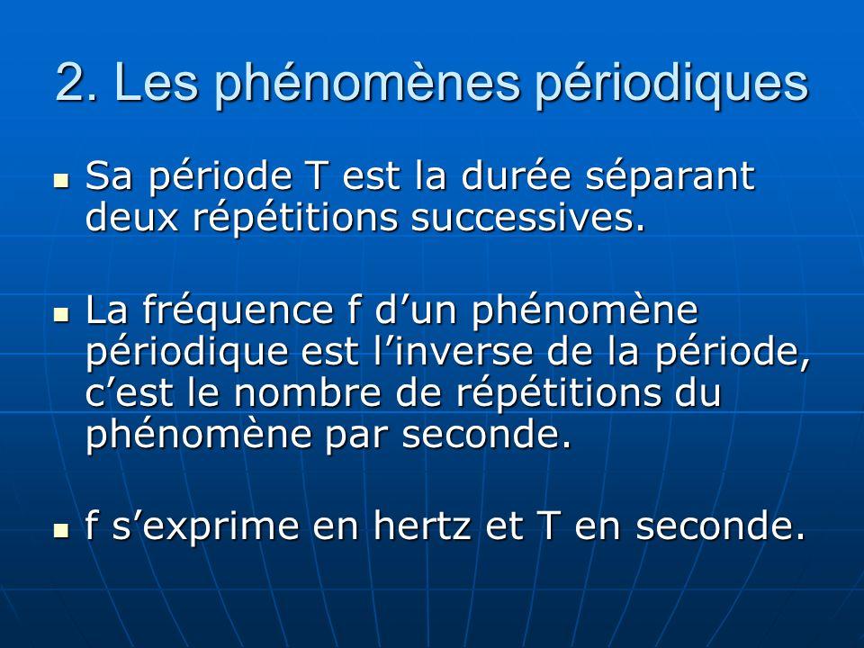 2. Les phénomènes périodiques Sa période T est la durée séparant deux répétitions successives. Sa période T est la durée séparant deux répétitions suc