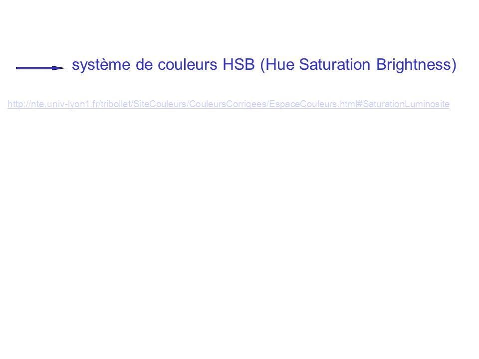 système de couleurs HSB (Hue Saturation Brightness) http://nte.univ-lyon1.fr/tribollet/SiteCouleurs/CouleursCorrigees/EspaceCouleurs.html#SaturationLu