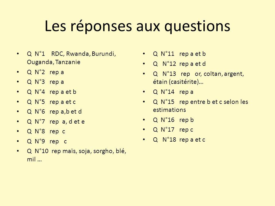 Les réponses aux questions Q N°1 RDC, Rwanda, Burundi, Ouganda, Tanzanie Q N°2 rep a Q N°3 rep a Q N°4 rep a et b Q N°5 rep a et c Q N°6 rep a,b et d