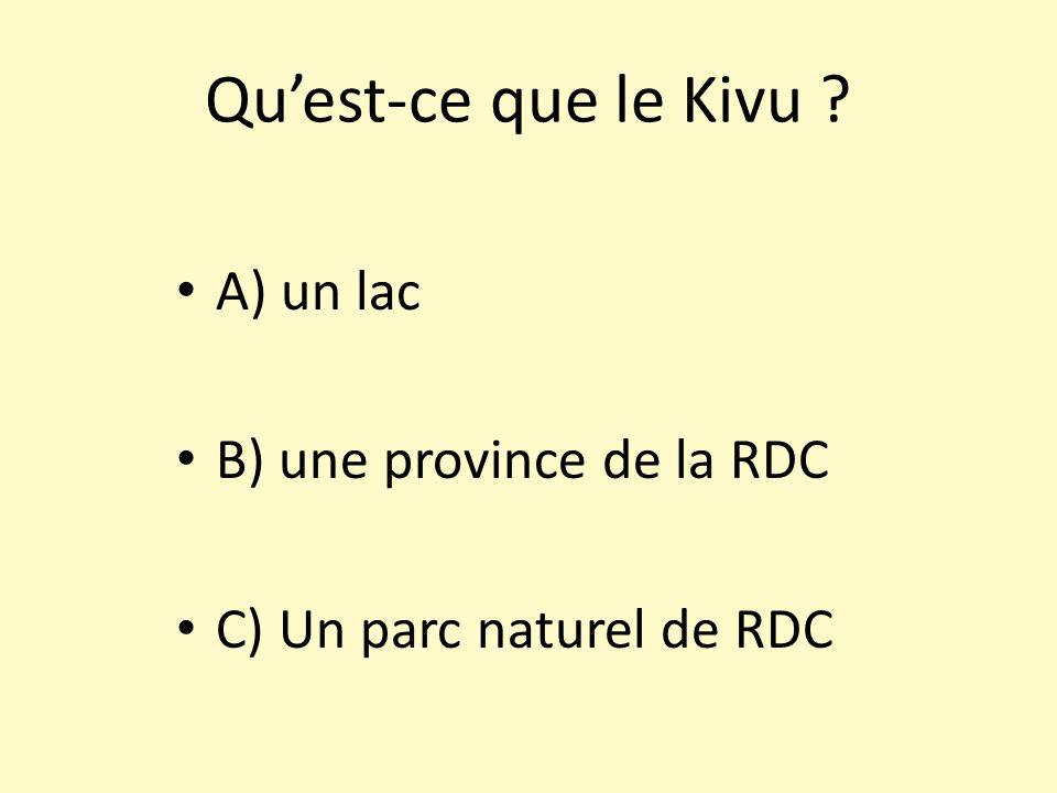 Quest-ce que le Kivu ? A) un lac B) une province de la RDC C) Un parc naturel de RDC