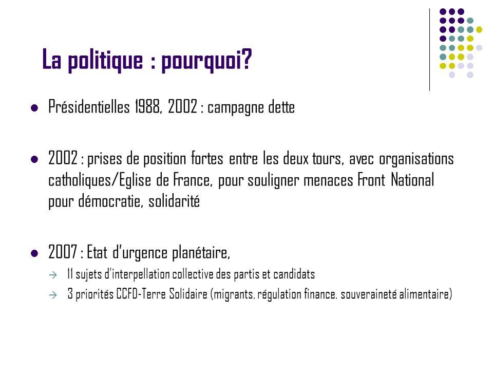 La politique : pourquoi? Présidentielles 1988, 2002 : campagne dette 2002 : prises de position fortes entre les deux tours, avec organisations catholi