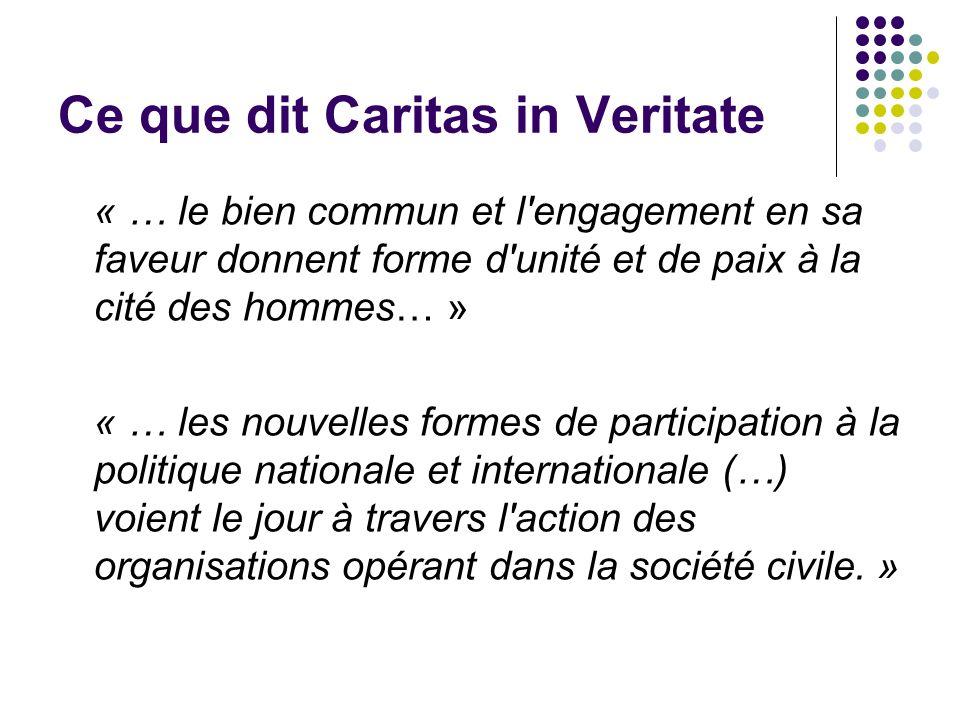 Ce que dit Caritas in Veritate « … le bien commun et l engagement en sa faveur donnent forme d unité et de paix à la cité des hommes… » « … les nouvelles formes de participation à la politique nationale et internationale (…) voient le jour à travers l action des organisations opérant dans la société civile.