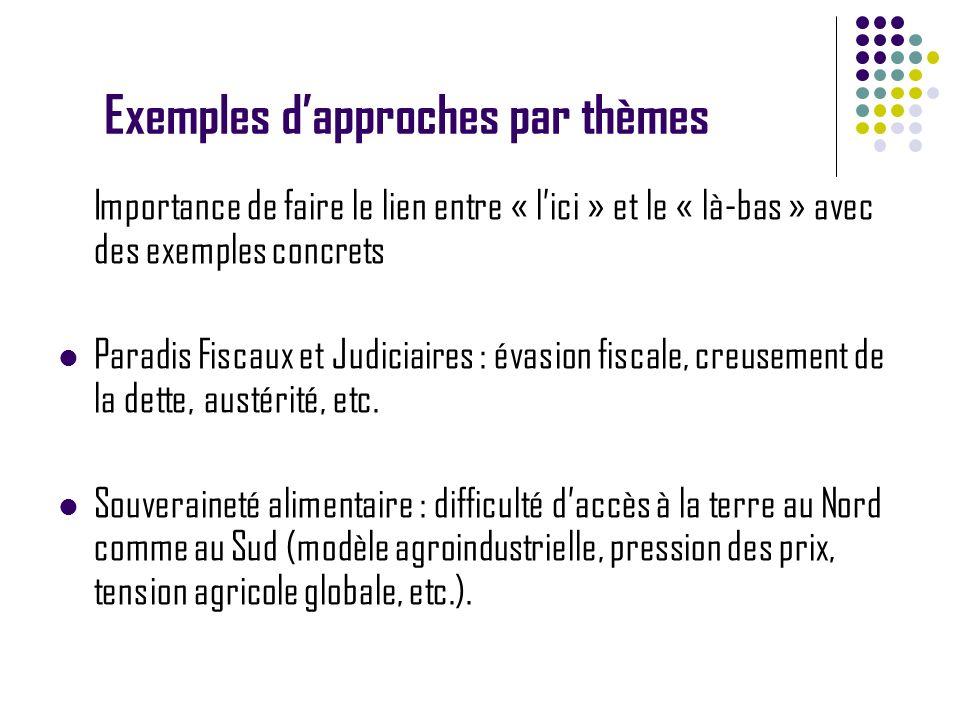 Exemples dapproches par thèmes Importance de faire le lien entre « lici » et le « là-bas » avec des exemples concrets Paradis Fiscaux et Judiciaires :