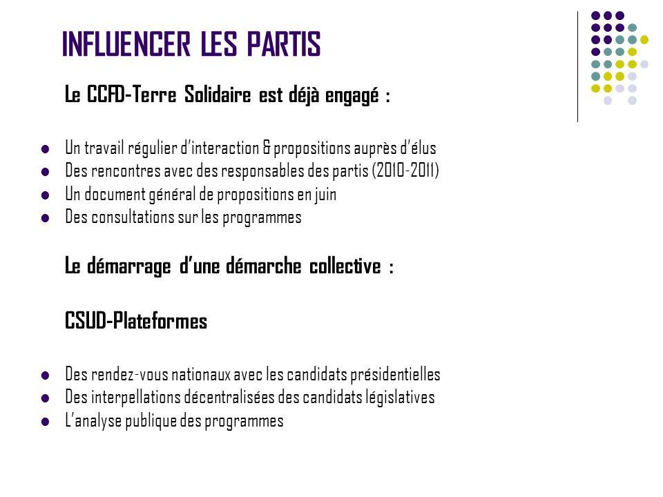 INFLUENCER LES PARTIS Le CCFD-Terre Solidaire est déjà engagé : Un travail régulier dinteraction & propositions auprès délus Des rencontres avec des r