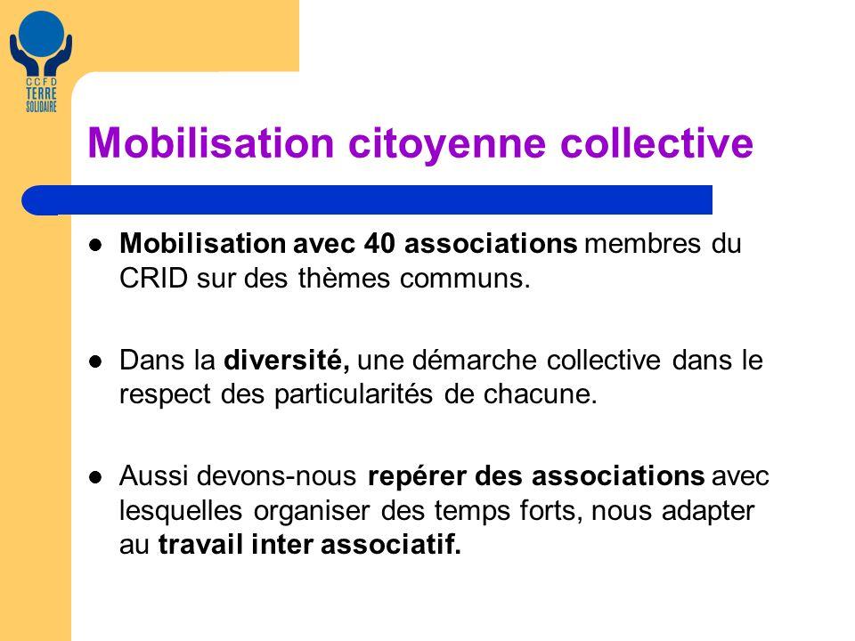 Mobilisation citoyenne collective Mobilisation avec 40 associations membres du CRID sur des thèmes communs. Dans la diversité, une démarche collective