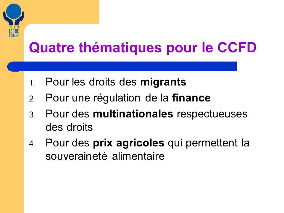 Quatre thématiques pour le CCFD 1. Pour les droits des migrants 2. Pour une régulation de la finance 3. Pour des multinationales respectueuses des dro