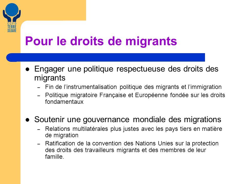 Pour le droits de migrants Engager une politique respectueuse des droits des migrants – Fin de linstrumentalisation politique des migrants et limmigra