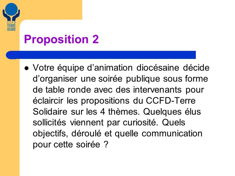 Proposition 2 Votre équipe danimation diocésaine décide dorganiser une soirée publique sous forme de table ronde avec des intervenants pour éclaircir les propositions du CCFD-Terre Solidaire sur les 4 thèmes.
