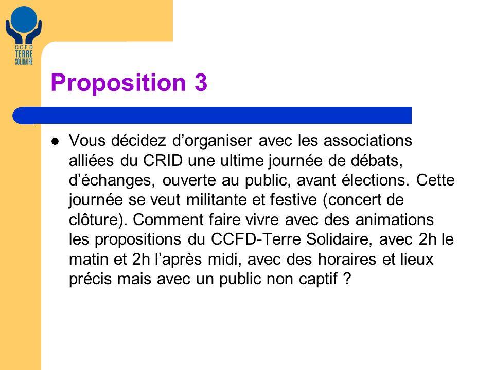 Proposition 3 Vous décidez dorganiser avec les associations alliées du CRID une ultime journée de débats, déchanges, ouverte au public, avant élections.