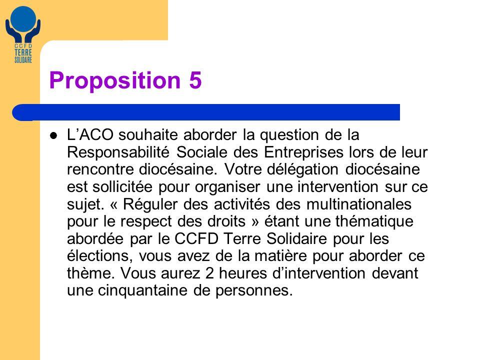 Proposition 5 LACO souhaite aborder la question de la Responsabilité Sociale des Entreprises lors de leur rencontre diocésaine.