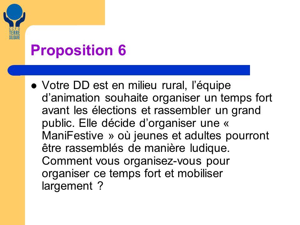 Proposition 6 Votre DD est en milieu rural, léquipe danimation souhaite organiser un temps fort avant les élections et rassembler un grand public.
