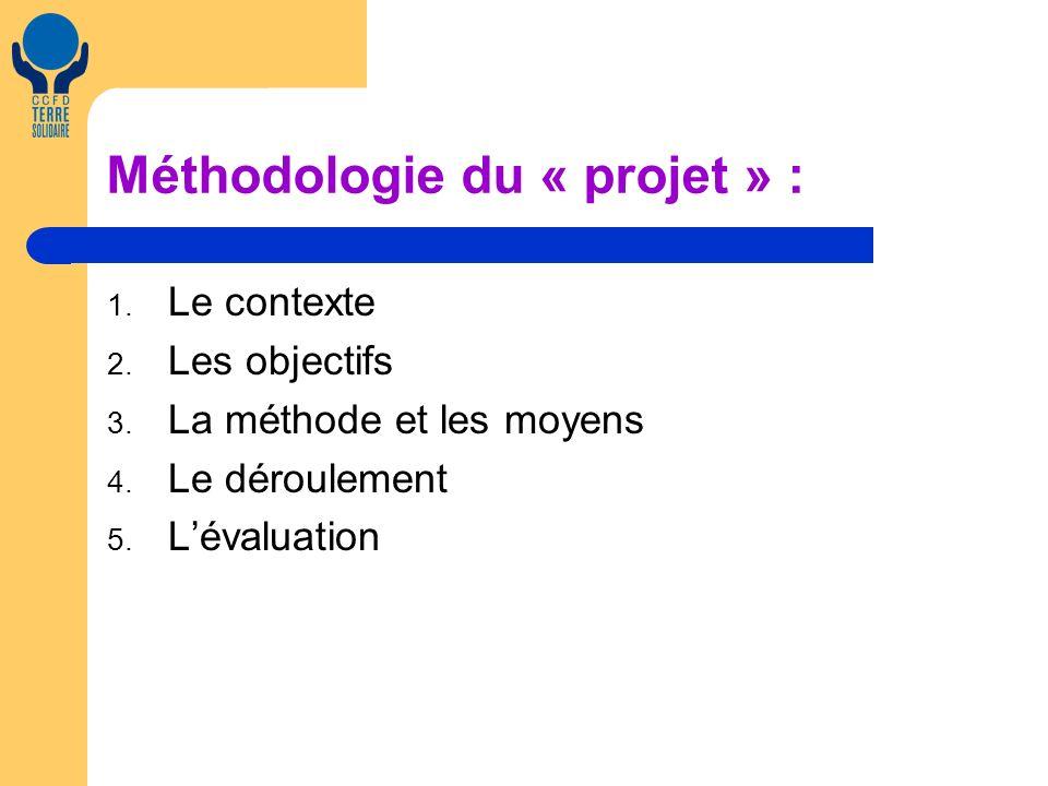 Méthodologie du « projet » : 1. Le contexte 2. Les objectifs 3.