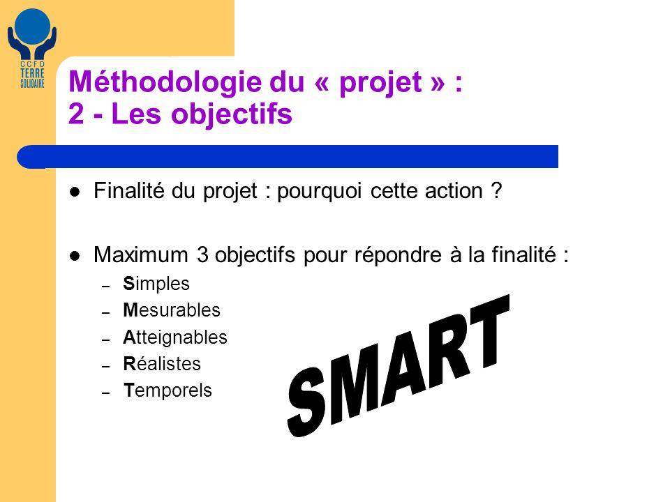 Méthodologie du « projet » : 2 - Les objectifs Finalité du projet : pourquoi cette action .