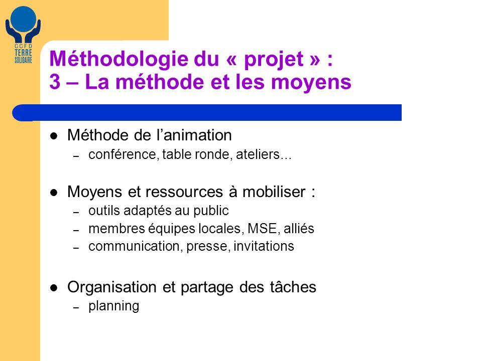 Méthodologie du « projet » : 3 – La méthode et les moyens Méthode de lanimation – conférence, table ronde, ateliers...
