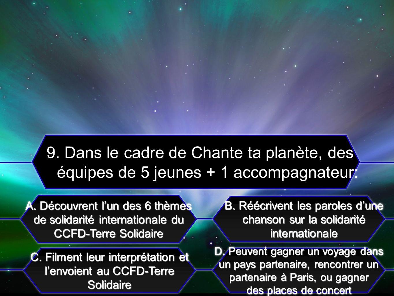C. Filment leur interprétation et lenvoient au CCFD-Terre Solidaire A. Découvrent lun des 6 thèmes de solidarité internationale du CCFD-Terre Solidair