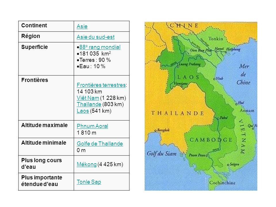 Continent Asie Région Asie du sud-est Superficie 88 e rang mondial 88 e rang mondial 181 035 km 2 Terres : 90 % Eau : 10 % Frontières Frontières terre