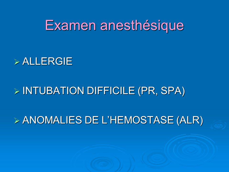 Examen anesthésique ALLERGIE ALLERGIE INTUBATION DIFFICILE (PR, SPA) INTUBATION DIFFICILE (PR, SPA) ANOMALIES DE LHEMOSTASE (ALR) ANOMALIES DE LHEMOSTASE (ALR)