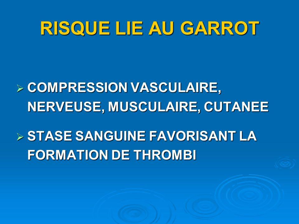 RISQUE LIE AU GARROT COMPRESSION VASCULAIRE, NERVEUSE, MUSCULAIRE, CUTANEE COMPRESSION VASCULAIRE, NERVEUSE, MUSCULAIRE, CUTANEE STASE SANGUINE FAVORI