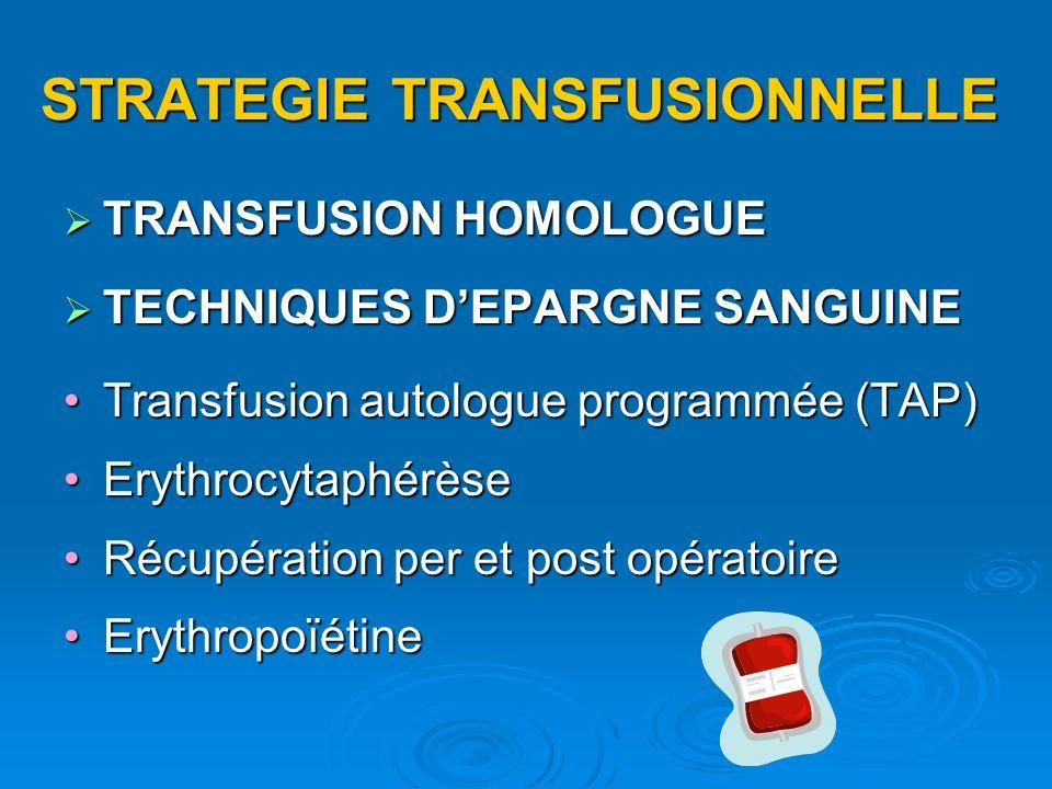 STRATEGIE TRANSFUSIONNELLE TRANSFUSION HOMOLOGUE TRANSFUSION HOMOLOGUE TECHNIQUES DEPARGNE SANGUINE TECHNIQUES DEPARGNE SANGUINE Transfusion autologue programmée (TAP)Transfusion autologue programmée (TAP) ErythrocytaphérèseErythrocytaphérèse Récupération per et post opératoireRécupération per et post opératoire ErythropoïétineErythropoïétine