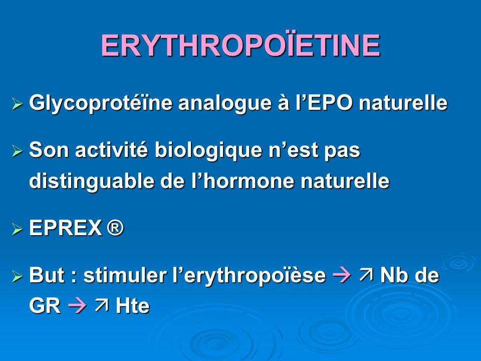 ERYTHROPOÏETINE Glycoprotéïne analogue à lEPO naturelle Glycoprotéïne analogue à lEPO naturelle Son activité biologique nest pas distinguable de lhorm