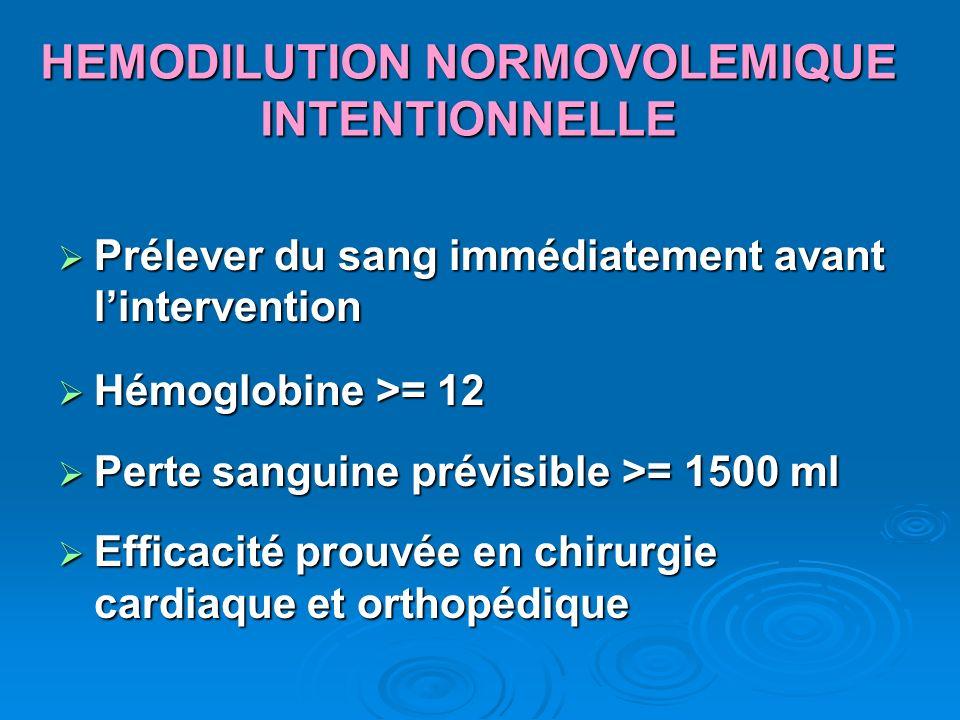 HEMODILUTION NORMOVOLEMIQUE INTENTIONNELLE Prélever du sang immédiatement avant lintervention Prélever du sang immédiatement avant lintervention Hémog