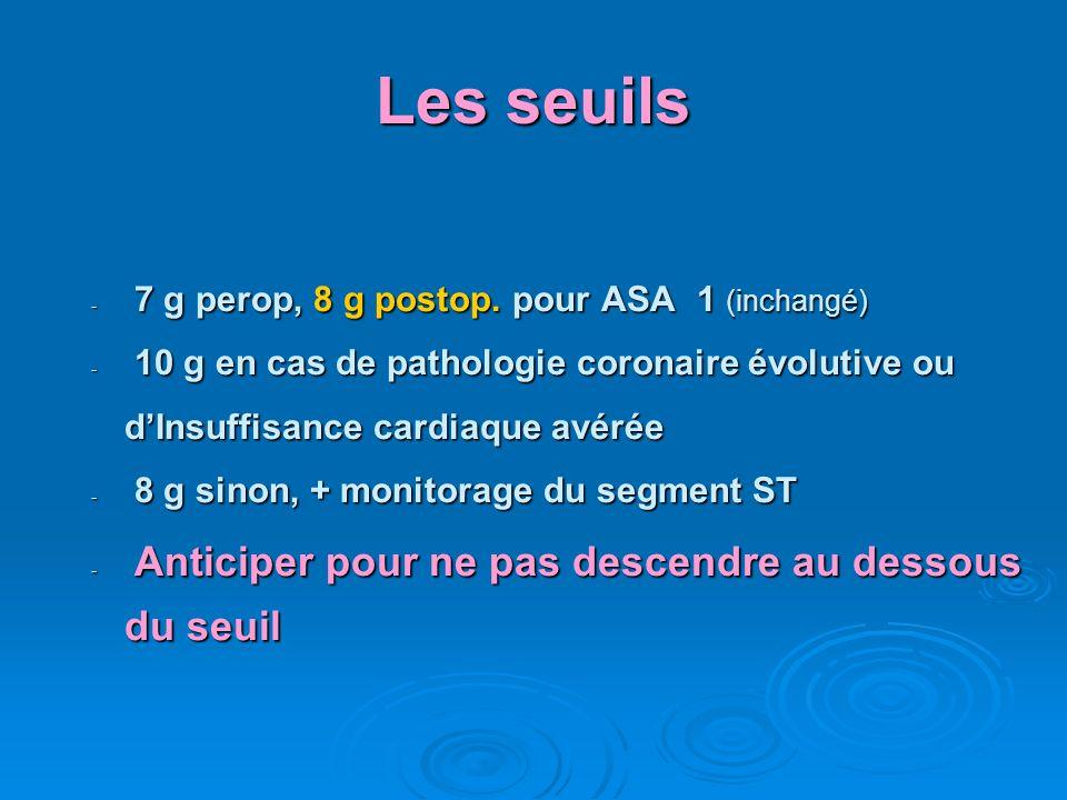 Les seuils - 7 g perop, 8 g postop. pour ASA 1 (inchangé) - 10 g en cas de pathologie coronaire évolutive ou dInsuffisance cardiaque avérée - 8 g sino