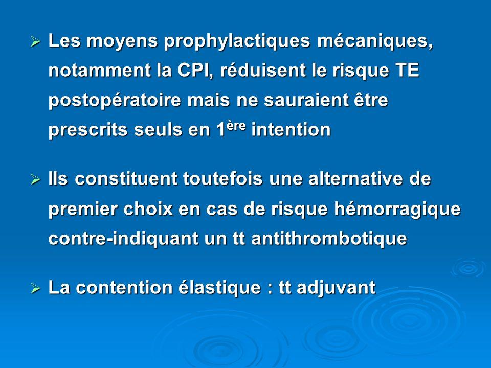 Les moyens prophylactiques mécaniques, notamment la CPI, réduisent le risque TE postopératoire mais ne sauraient être prescrits seuls en 1 ère intenti