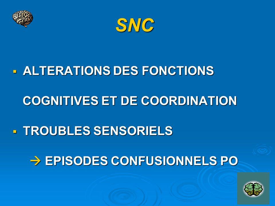 SNC ALTERATIONS DES FONCTIONS ALTERATIONS DES FONCTIONS COGNITIVES ET DE COORDINATION COGNITIVES ET DE COORDINATION TROUBLES SENSORIELS TROUBLES SENSORIELS EPISODES CONFUSIONNELS PO EPISODES CONFUSIONNELS PO