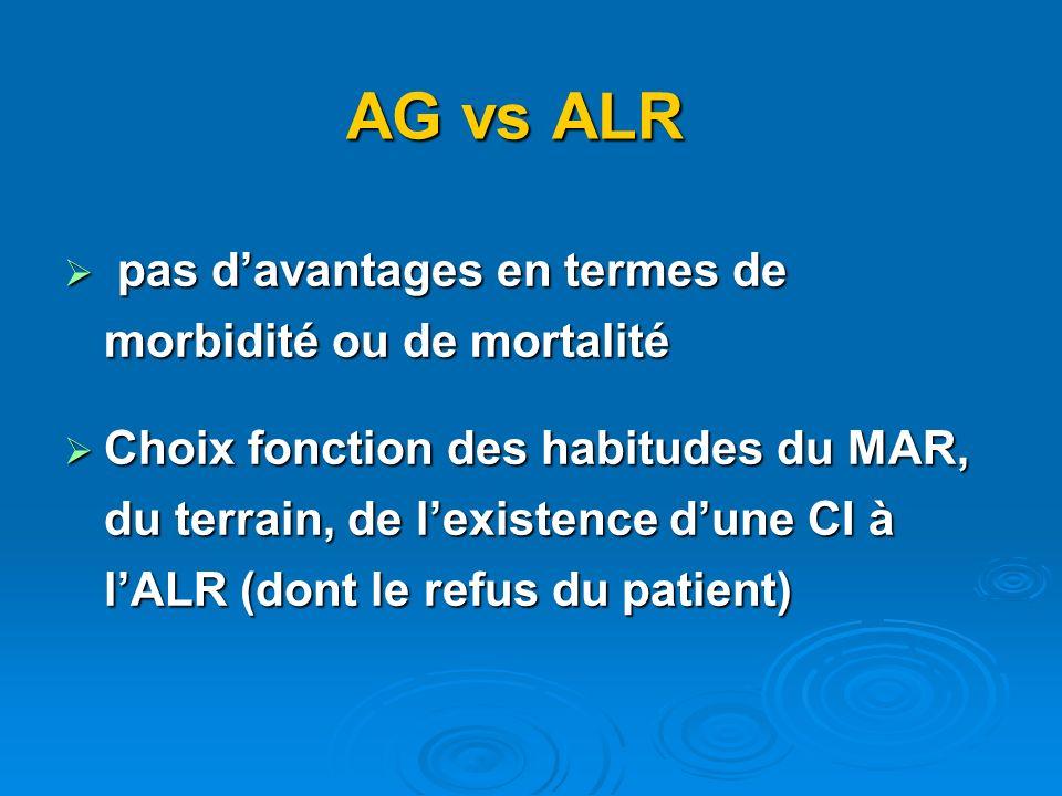 AG vs ALR pas davantages en termes de morbidité ou de mortalité pas davantages en termes de morbidité ou de mortalité Choix fonction des habitudes du