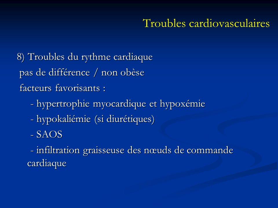 8) Troubles du rythme cardiaque pas de différence / non obèse pas de différence / non obèse facteurs favorisants : facteurs favorisants : - hypertroph
