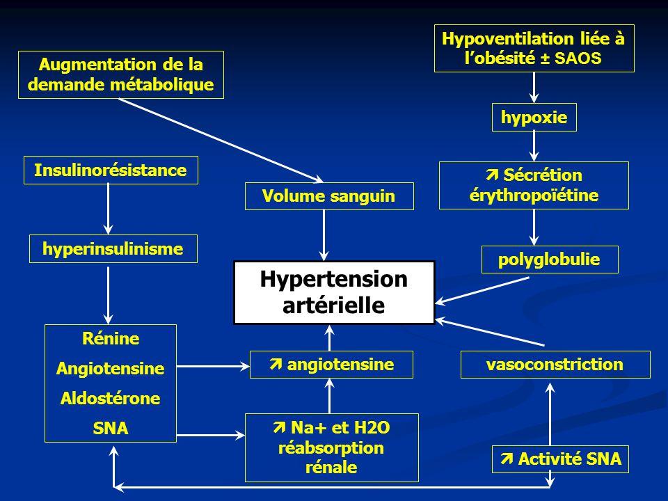 Hypoventilation liée à lobésité ± SAOS hypoxie Sécrétion érythropoïétine Volume sanguin polyglobulie Augmentation de la demande métabolique Insulinoré