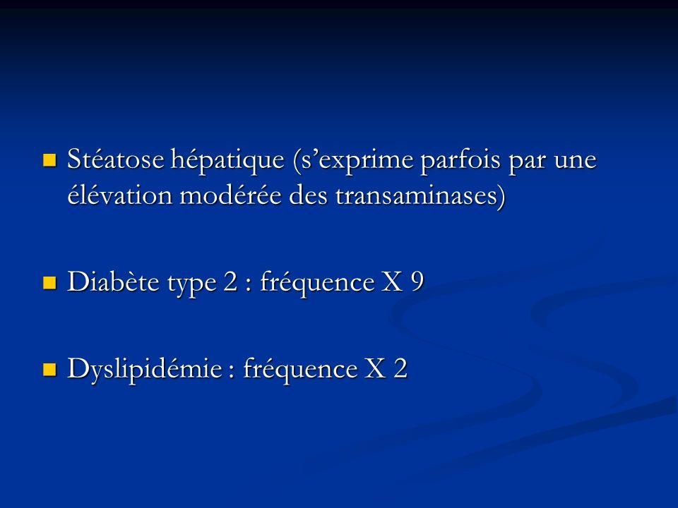 Stéatose hépatique (sexprime parfois par une élévation modérée des transaminases) Stéatose hépatique (sexprime parfois par une élévation modérée des t