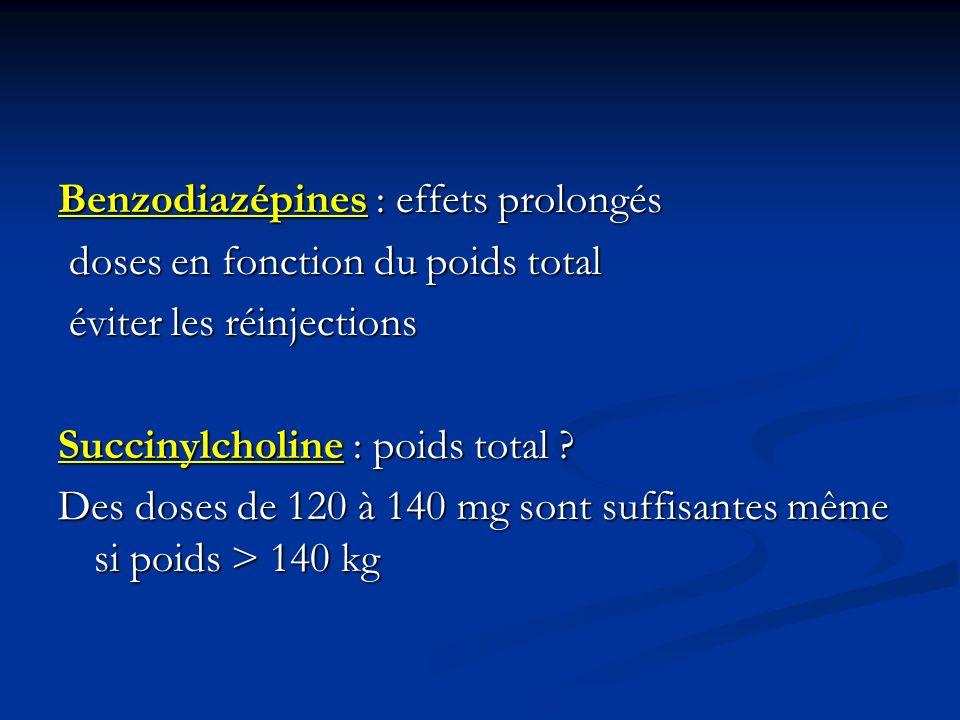 Benzodiazépines : effets prolongés doses en fonction du poids total doses en fonction du poids total éviter les réinjections éviter les réinjections S