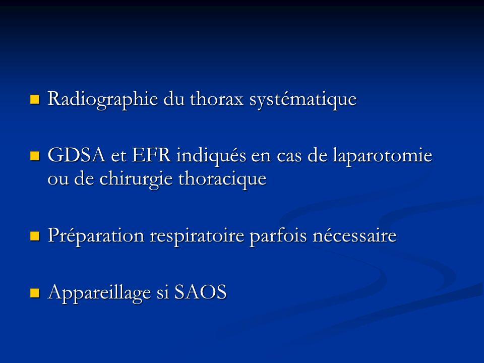 Radiographie du thorax systématique Radiographie du thorax systématique GDSA et EFR indiqués en cas de laparotomie ou de chirurgie thoracique GDSA et