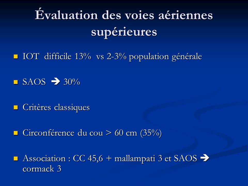 Évaluation des voies aériennes supérieures IOT difficile 13% vs 2-3% population générale IOT difficile 13% vs 2-3% population générale SAOS 30% SAOS 3