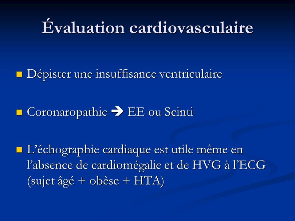 Évaluation cardiovasculaire Dépister une insuffisance ventriculaire Dépister une insuffisance ventriculaire Coronaropathie EE ou Scinti Coronaropathie