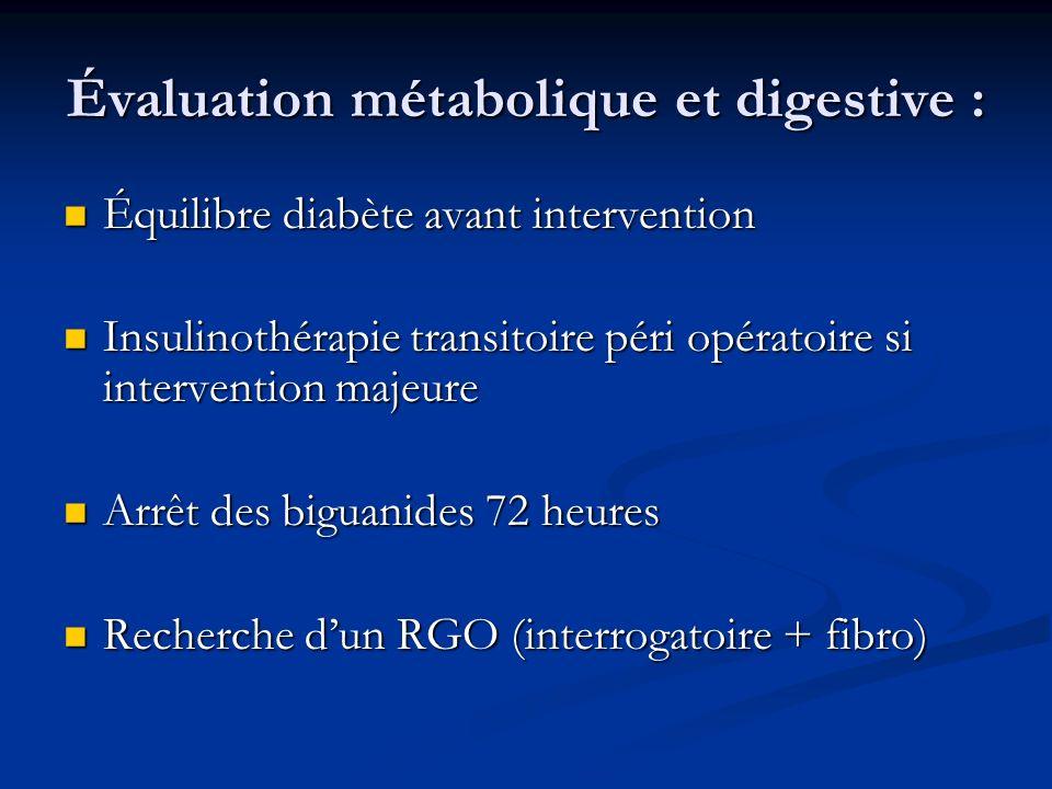 Évaluation métabolique et digestive : Équilibre diabète avant intervention Équilibre diabète avant intervention Insulinothérapie transitoire péri opér