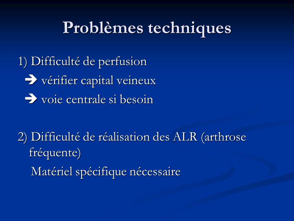 Problèmes techniques 1) Difficulté de perfusion vérifier capital veineux vérifier capital veineux voie centrale si besoin voie centrale si besoin 2) D