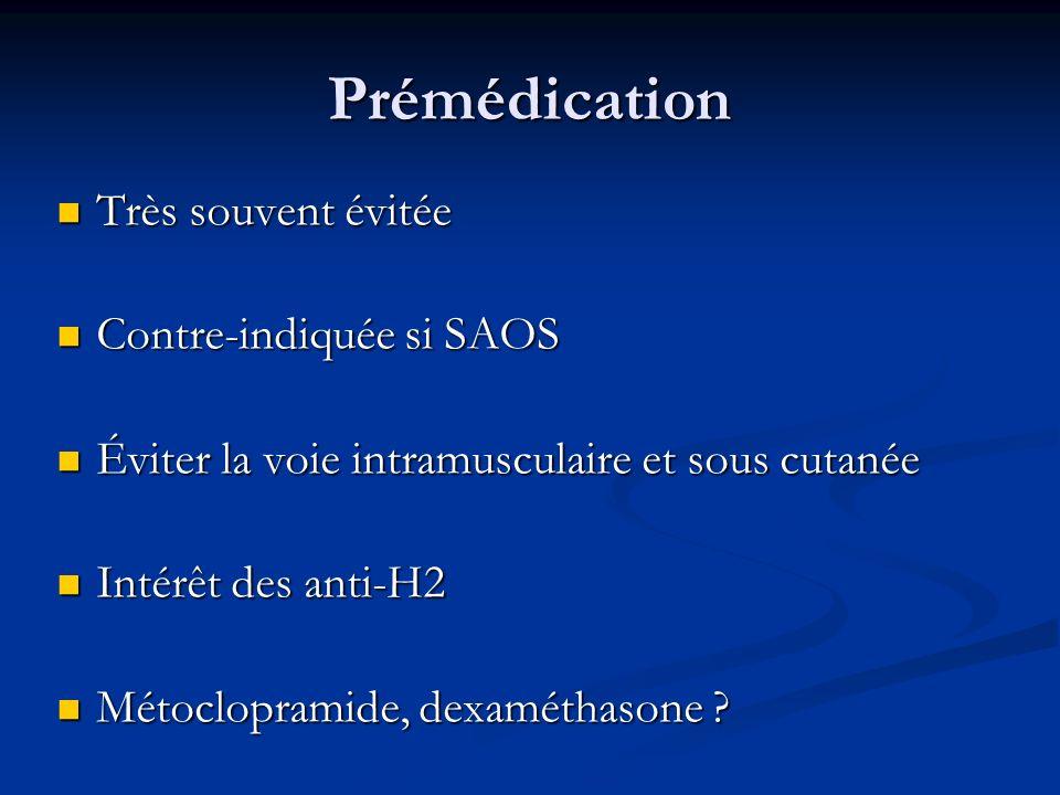 Prémédication Très souvent évitée Très souvent évitée Contre-indiquée si SAOS Contre-indiquée si SAOS Éviter la voie intramusculaire et sous cutanée É