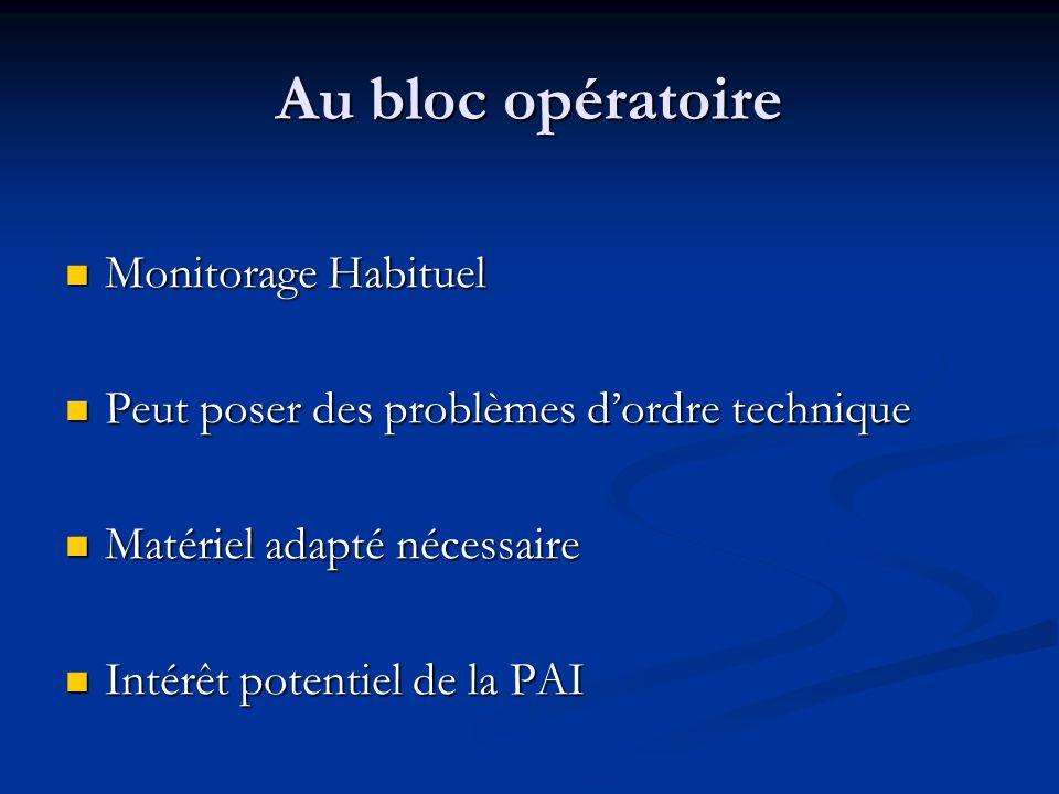 Au bloc opératoire Monitorage Habituel Monitorage Habituel Peut poser des problèmes dordre technique Peut poser des problèmes dordre technique Matérie