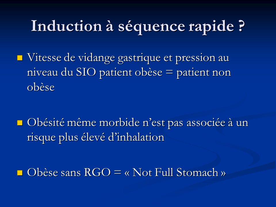 Induction à séquence rapide ? Vitesse de vidange gastrique et pression au niveau du SIO patient obèse = patient non obèse Vitesse de vidange gastrique