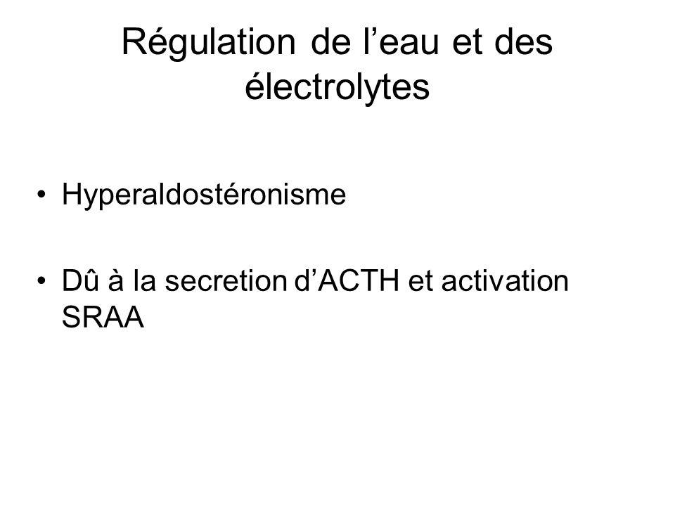 Régulation de leau et des électrolytes Hyperaldostéronisme Dû à la secretion dACTH et activation SRAA