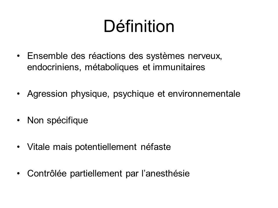 Définition Ensemble des réactions des systèmes nerveux, endocriniens, métaboliques et immunitaires Agression physique, psychique et environnementale N